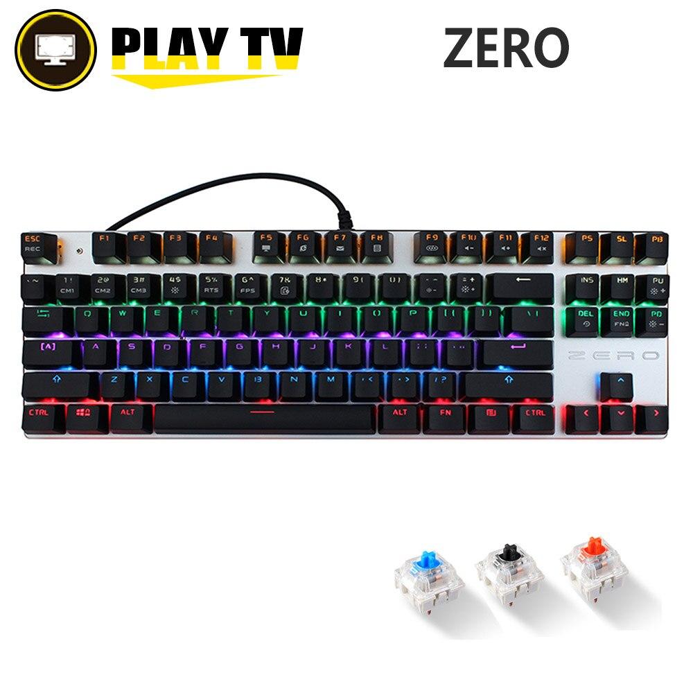 Original Metoo Metal 104 Keys Blue Switch LED Backlit Gaming Wired Mechanical Keyboard Anti Ghosting For