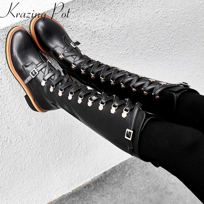 купить Krazing Pot new arrival genuine leather cross-tied lace up med heel round toe rivets keep warm Equestrian thigh high boots L67 недорого