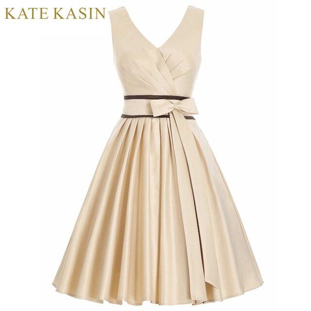 b072a88bc38d1c Kate Kasin D'été Vintage Robe De Mariée En Satin À Col En V Sans ...