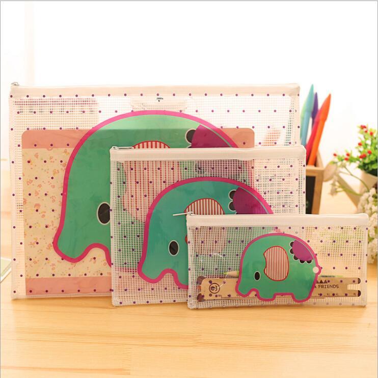 1PC New Kawaii Cartoon Animal Transparent A4 File Folder Case Desk Paper Pencil Document Organizer Storage Bag Stationery
