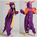 Invierno Unisex All In One Pijamas Homewear Pijama de Halloween Disfraces Spyro Purple Dragon Pijama Pijama de Franela Establece Oneises