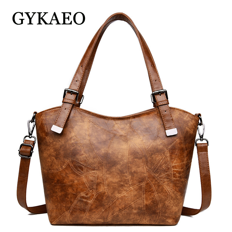 ef1f0f23012c GYKAEO ретро для женщин кожаные сумочки 2019 весна европейский и  американский стиль большой ёмкость сумка женская улица сумки на плечо