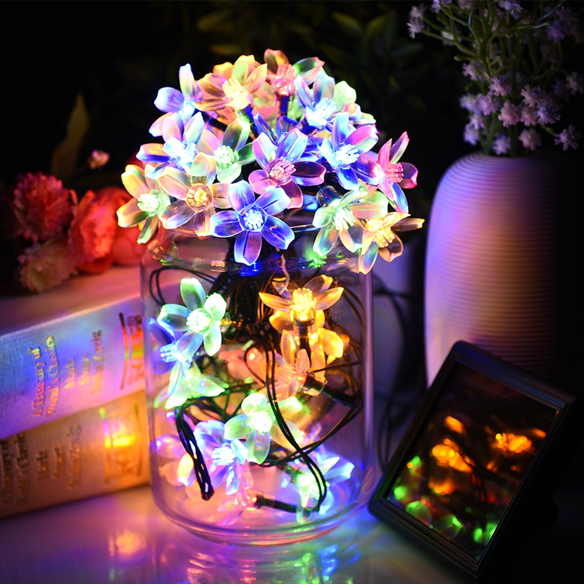 Litom Solar String Lights Waterproof Multi Color 50 LED Blossom Decorative Light with 2 Switches for