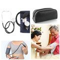 Professional Medical Aneroid Blood Pressure Measure Monitor Kit Cuff Stethoscope Travel w/ Pouch