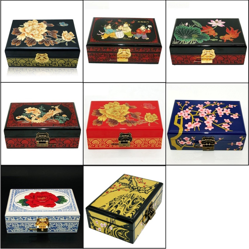 Jewelry Box Antique Storage Boxes Bins Chinese Lacquerware Lacquer