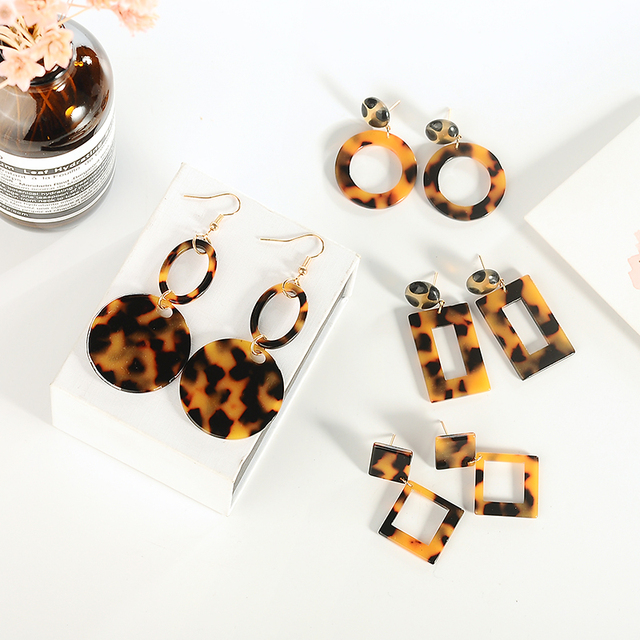 Fashion Leopard Earrings Acetate Personality Atmosphere Exaggerated Edition Geometric Round Brown Acrylic