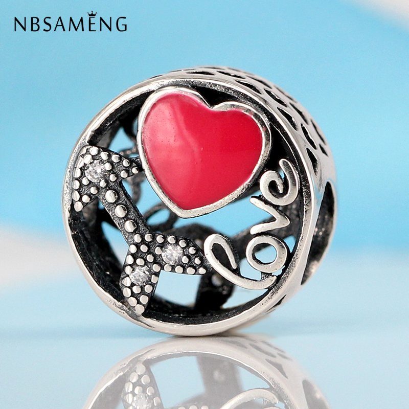 Authentic 100% 925 Sterling Silver Charm Beads Struck By Love Charms Fit Original Pandora Bracelets Women DIY Jewelry Making