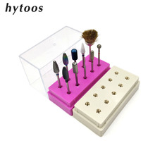 HYTOOS 10 Holes Nail Drill Bit Display Stand Container Nail Art Empty Storage Box Acrylic Holder Case Manicure Art Accessories