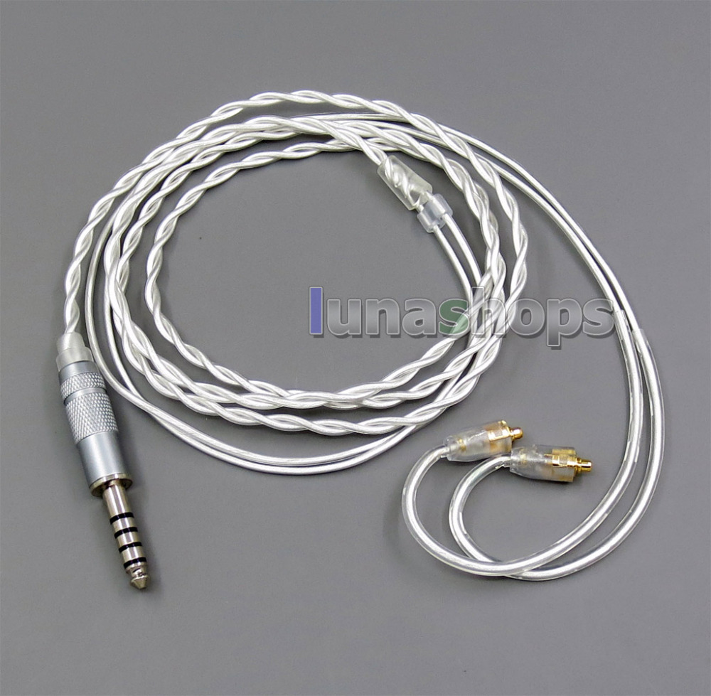 4.4mm 2.5mm 3.5mm Pure Silver Shielding Earphone Cable For MMCX Plug Shure se535 se846 se215 Earphone cable tbjs LN005951 areyourshop 5pair earphone pin plug for shure ed5 se535 carbon fiber mmcx rhodium plated silver
