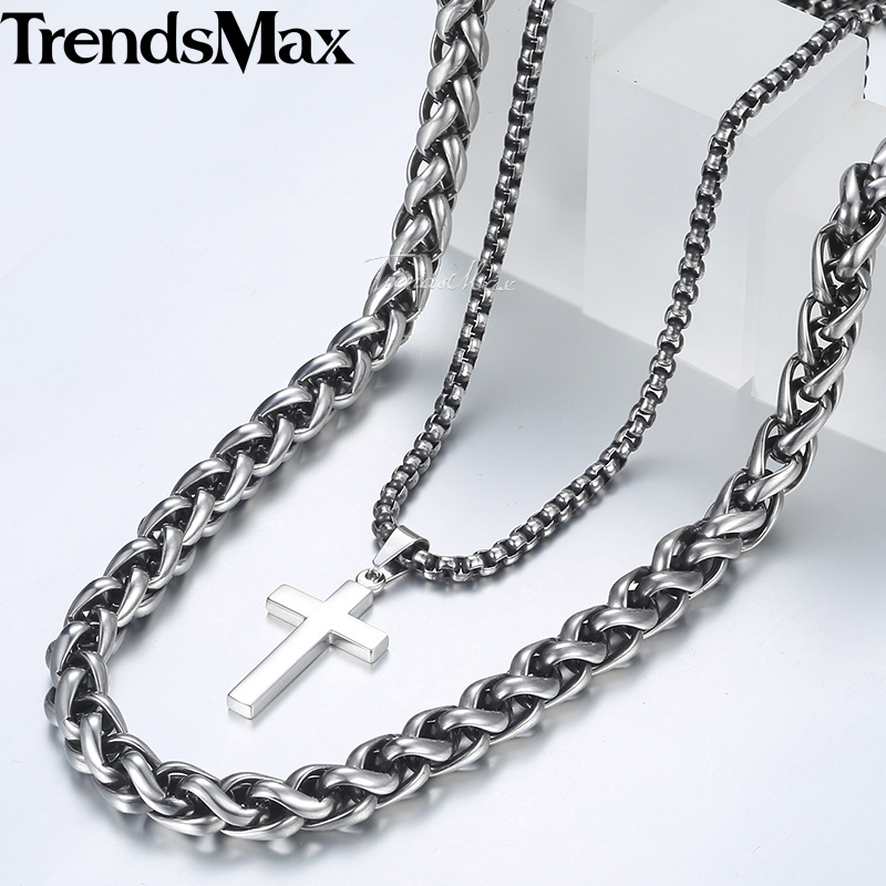 New Men's Necklace Silver Stainless Steel Wheat Box Link Chain Cross Pendant Necklace for Men Hip Hop Jewelry 10mm 24inch DN02 fashion rhinestone hollow out tortile cross shape pendant necklace for men