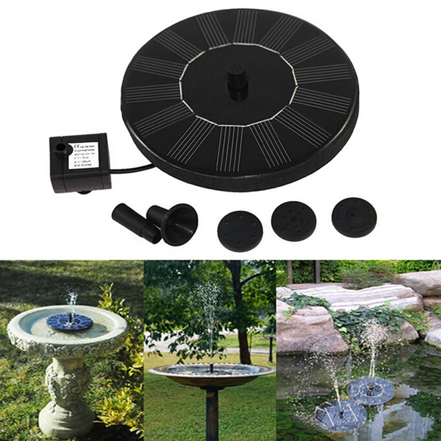 New Solar Powered Spray Heads Pump Water Garden Fountain Pond Kit For  Waterfalls Water Display On
