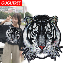 GUGUTREE embroidery Sequins big tiger patches animal badges applique for clothing XC-3