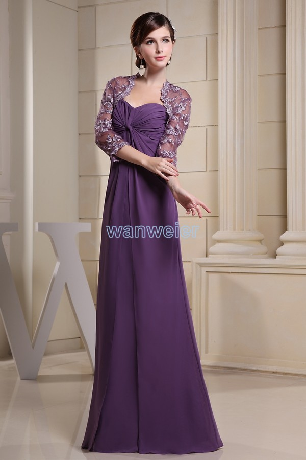 Free Shipping 2017 New Arrival Long Sleeve Moroccan Dresses Custom Size Color Chiffon Purple Bridesmaid Dress With Lace Jacket In From