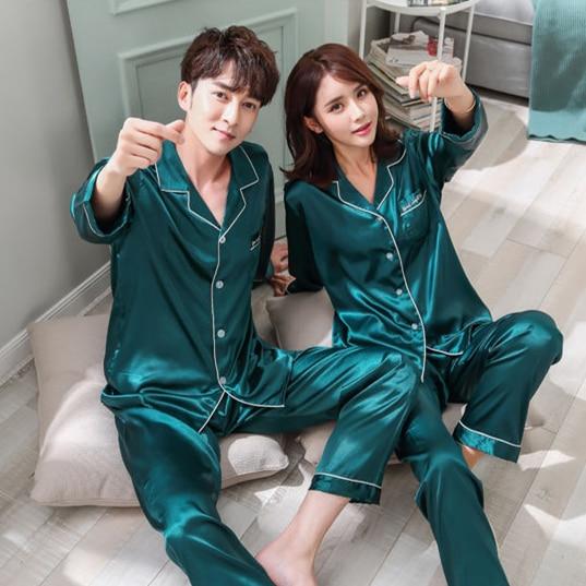 Daeyard Silk Pajamas For Women And Men Satin Couple's Pajama Set 2 Pieces Shirt And Pants Sleepwear 2019 New Pijama Home Clothes