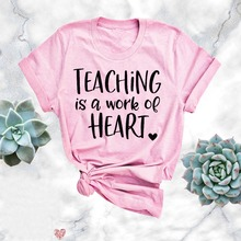 Teaching Is A Work Of Heart Shirt Kindergrarten Teacher Tee Elementary School Te