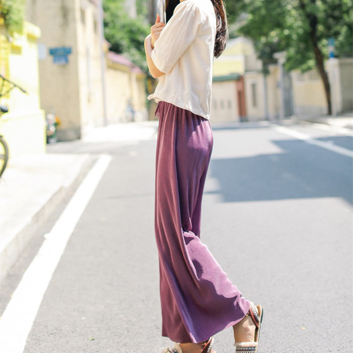 2019 Solid Lace Up High Waist   Wide     Leg     Pants   Sweet Casual Pleated   Pants   Female Loose Long Trousers