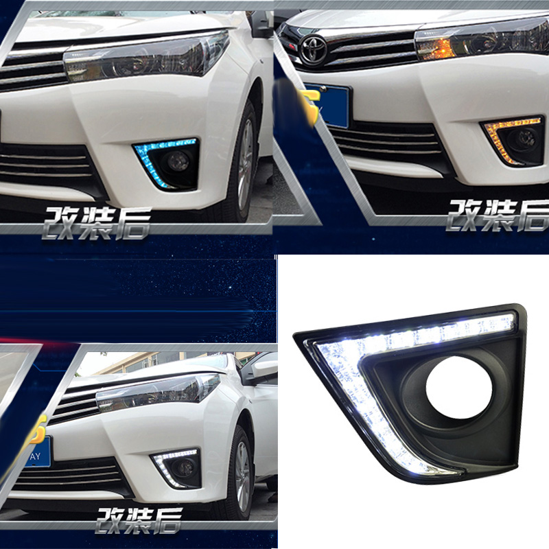 New Car Accessories LED DRL Daytime Running Lights Daylight Fog light LED fog lamp for TOYOTA COROLLA 2014 2015 4in1 daytime running light 12v 12w led car emergency strobe lights drl wireless remote control kit car accessories universal