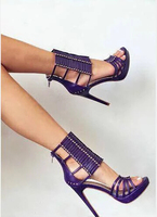 Ladies purple high heel gladiator sandals peep toe hollow out thin heels pumps women rivet decoration party shoes woman free shi