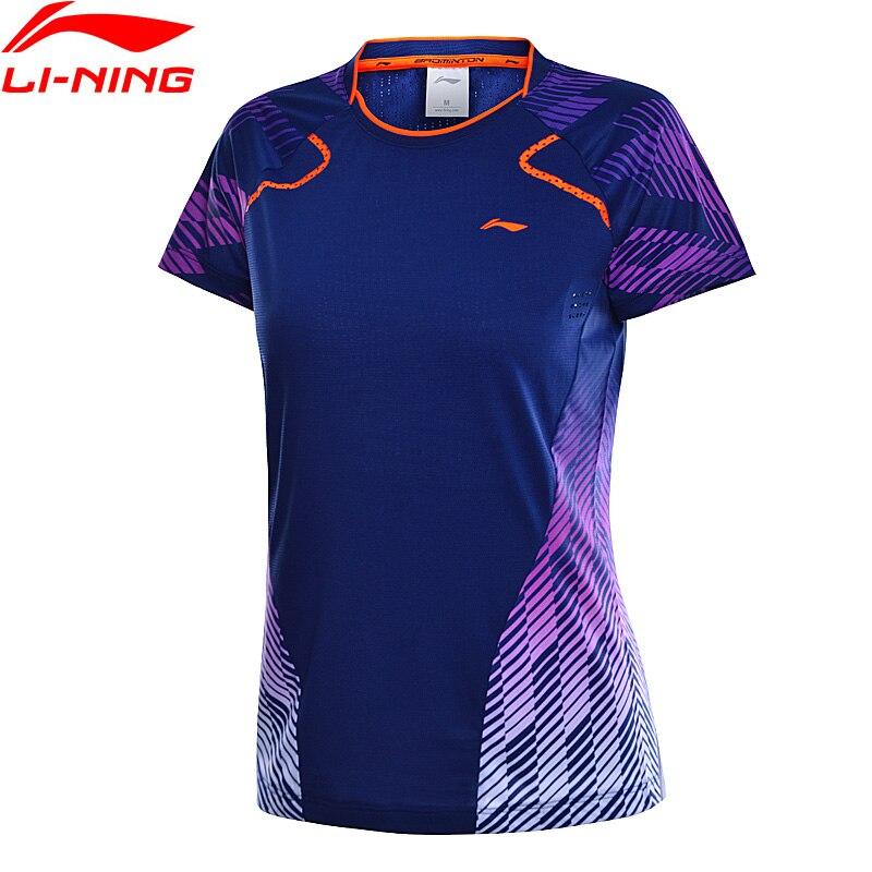 Li-ning femmes Badminton compétition T-Shirts respirant confort à sec doublure sport T-Shirts hauts T-Shirt AAYN016 WTS1436