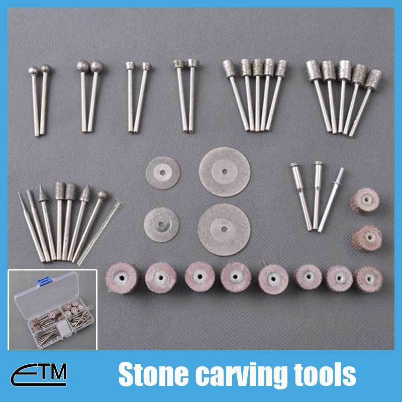 Stone carving tools dremel diamond burr set cutting disc cylinder grinding heads and drills abrasive mounted points etc TB003 stone abrasive grinding plane stone flower pot base diameter 45 super wear