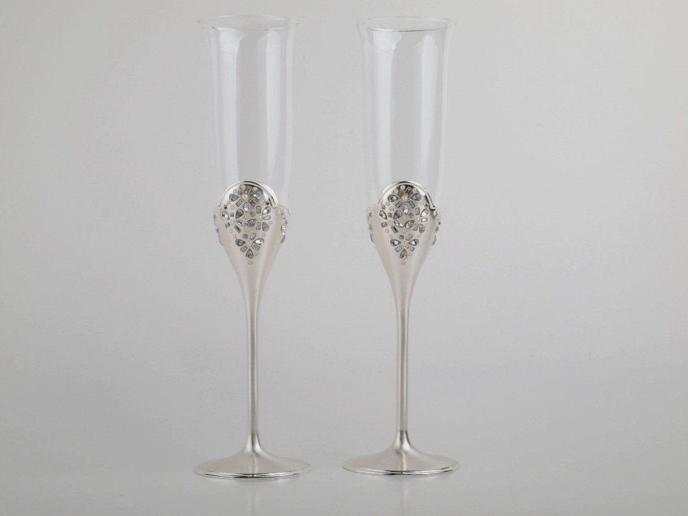 2 Pcs Wine Glasses Set Champagne Glasses Wedding Champagne Flutes