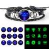 12 Constellation Zodiac Sign Black Braided Leather Bracelet Cancer Leo Virgo Libra Woven Glass Dome Jewelry Punk Men Bracelet 4