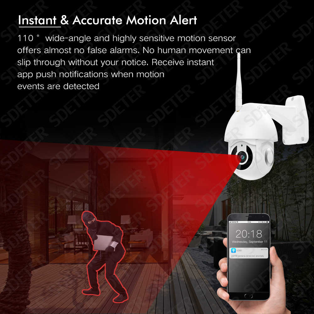 Sdeter Kamera Wifi 1080P Outdoor PTZ Speed Dome Nirkabel Ip CCTV Kamera Keamanan Pan Tilt Zoom IR Dua Arah audio Kamera Eksterior