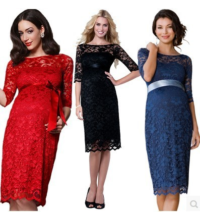 Size L-XXXL Fashion formal Women party Lace dresses for pregnant women maternity formal dress for parties free shipping