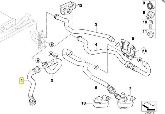 Hose for radiator and engine return for BMW E60 E61 520i 525i 530i