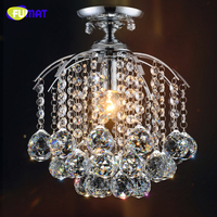 FUMAT Led Small Crystal Ceiling Lamp Round Bar Counter Aisle Lights Entrance Hall Lighting Hanging E14 LED Ceiling Lights