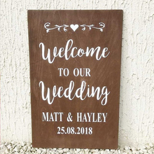 Welcome Party Sign Decals Mural Wedding Decoration Wall Stickers  Room Decor Art Vinyl Poster Baptism Personalised N121