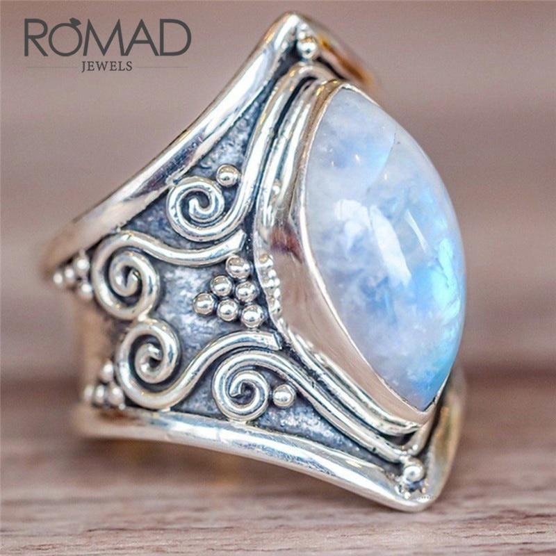 Bohemian Vintage Tibetan Silver Big Crystal Opal Rings For Women Boho Antique Indian Moonstone Ring Fashion Jewelry bague Z5
