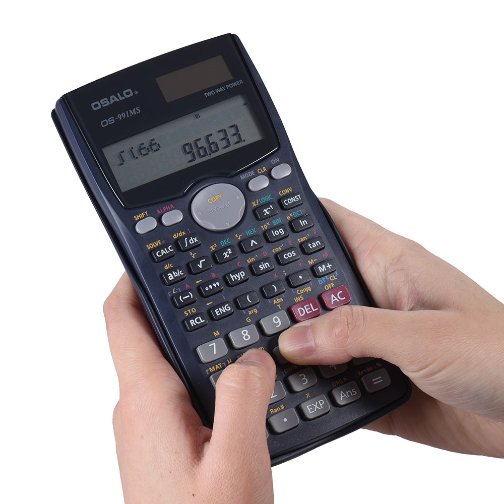 Scientific Calculator Counter 401 Functions Matrix Dot Vector Equation Calculate Solar and Battery Dual Powered 2 Line Display все цены