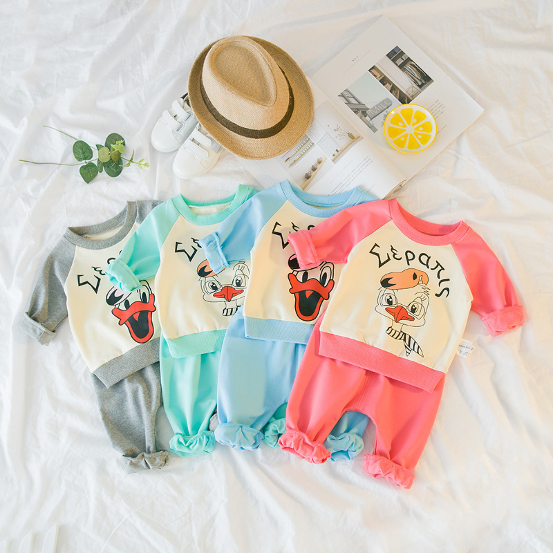 2018 Autumn Baby Boy Clothes Baby Clothing Set Fashion Cotton Long-sleeved Cartoon T-shirt+pants Newborn Baby Girl Clothing Set 2018 spring newborn baby boy clothes gentleman baby boy long sleeved plaid shirt vest pants boy outfits shirt pants set