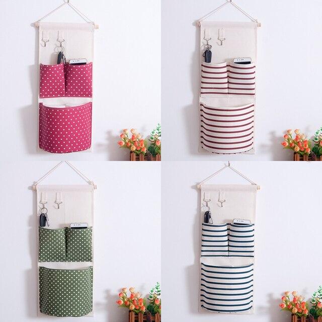 Wall Hanging Storage Bags Organizer Linen Closet Pockets Wardrobe Caixa Organizadora
