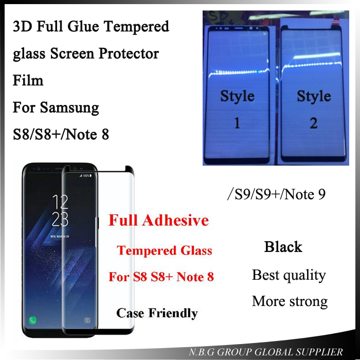 100pcs lot Full Adhesive Tempered Glass Screen Protector For Samsung S8 S8Plus S9 S9plus Note8 Note