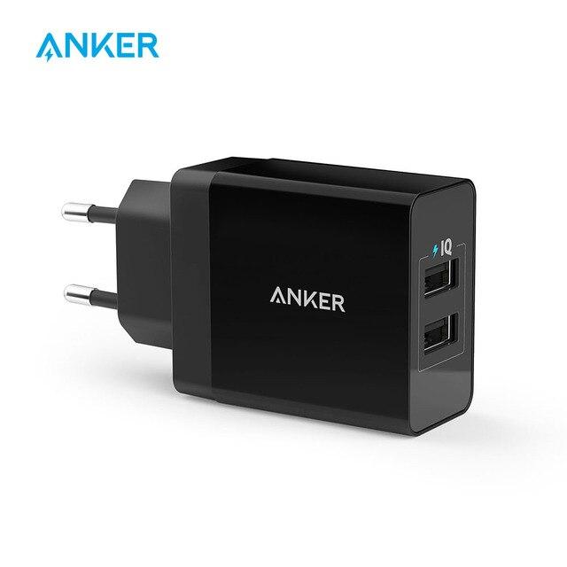 Cargador de pared USB de 2 puertos Anker 24 W (enchufe UE/Reino Unido) Y PowerIQ tecnología para iPhone iPad samsung Galaxy Nexus HTC Motorola LG, etc.
