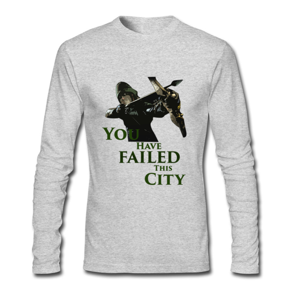 Low Price Men Green Arrow You have failed this city Funny Tees Crewneck Long Sle