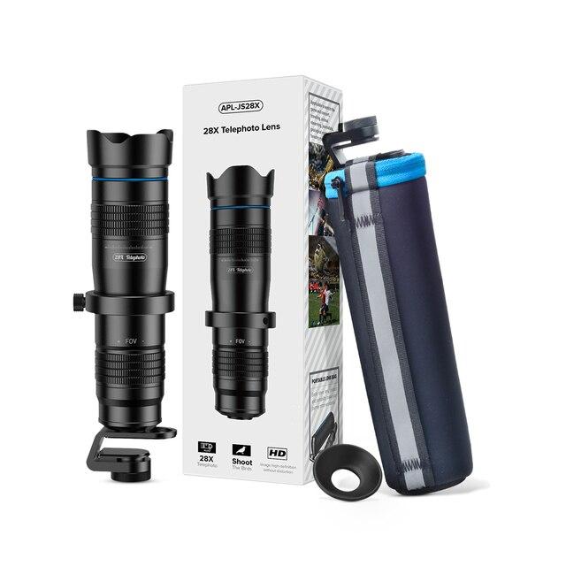 APEXEL Optic phone camera lens HD 28X metal telescope lens monocular with mini selfie tripod for iPhone 78 Xiaomi all Smartphone 5