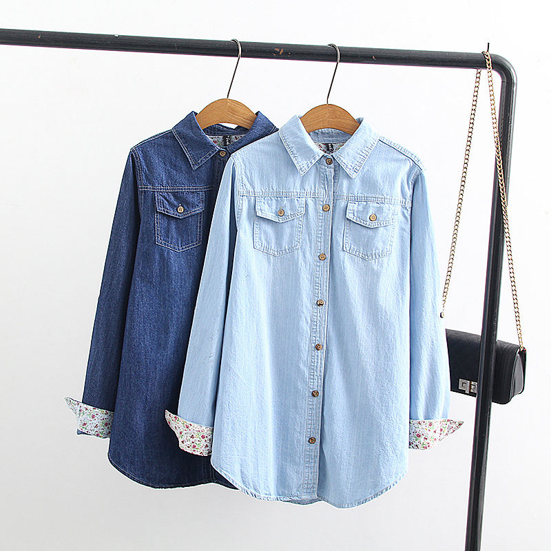 Stop118 最終割引 ヴィンテージジーンズシャツ女性長袖プラスサイズジーンズシャツカジュアルストリート女性はデニムシャツブラウス女性服 Q1279