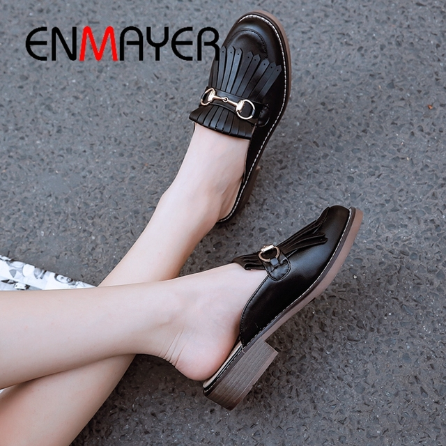 ENMAYER 2019 Fashion Solid 3 Colors Women Flat Shoes  PU  Spring/Autumn  Outside  Woman Shoes Fringe Size 34-43 LY1849