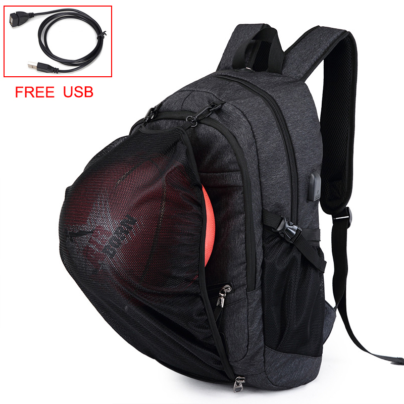 GYKZ 2018 Outdoor Basketball Sport Backpack For Men USB Charge Outdoor Tourist Backpack Multifunctional Hiking Rucksack HY155