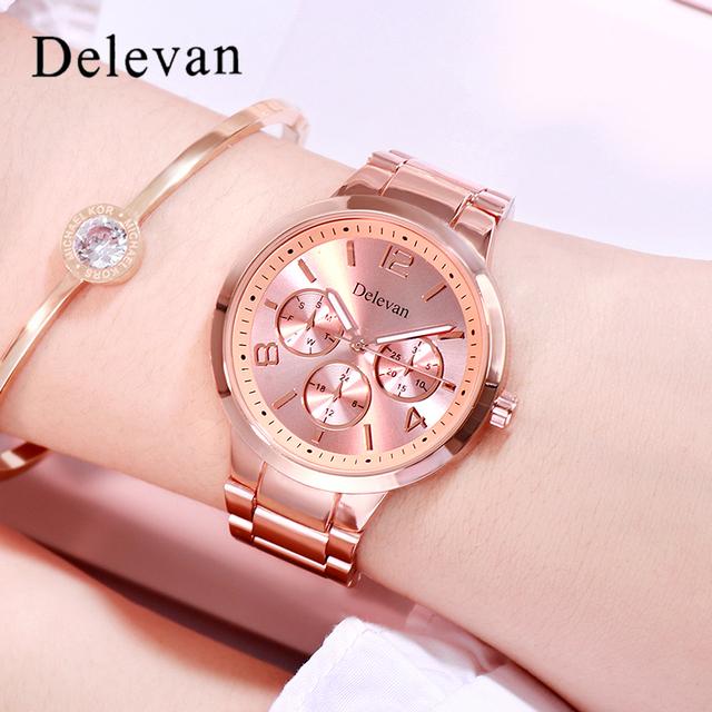 2019 Stainless steel Wristwatch Bracelet Quartz watch Woman