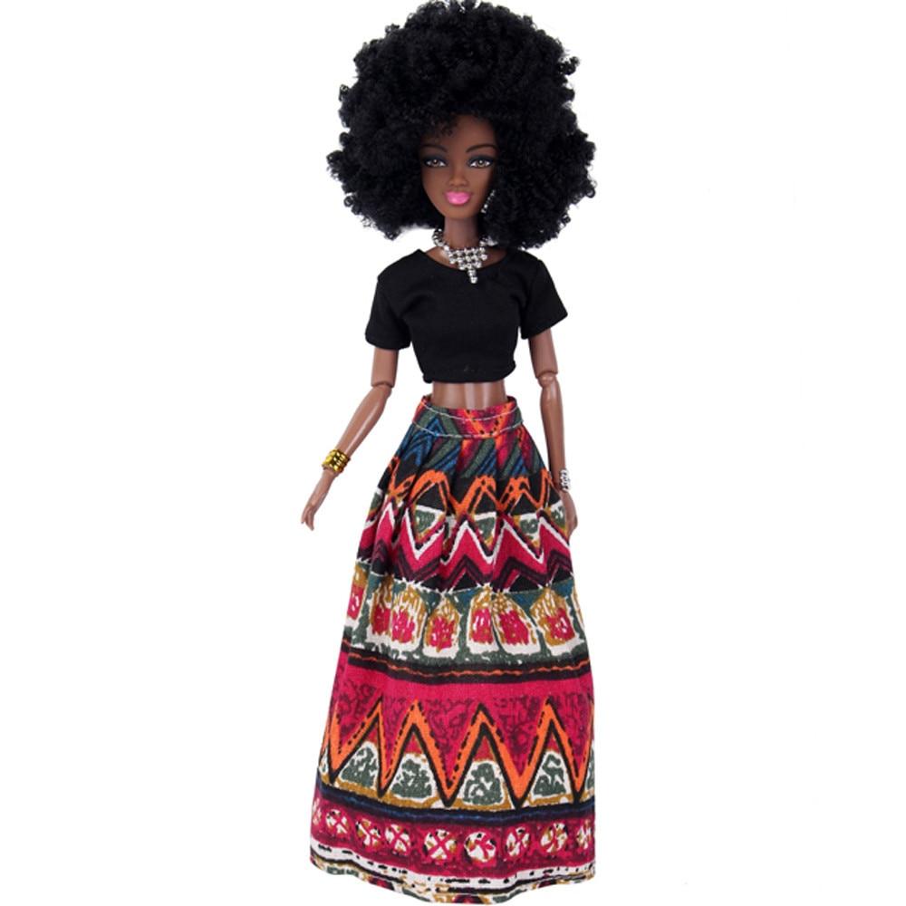 Baby Puppen Für Mädchen Baby Movable Gemeinsame Afrikanischen Puppe Spielzeug Schwarze Puppe Beste Geschenk Spielzeug Heißer verkauf freies shipping17Dec21