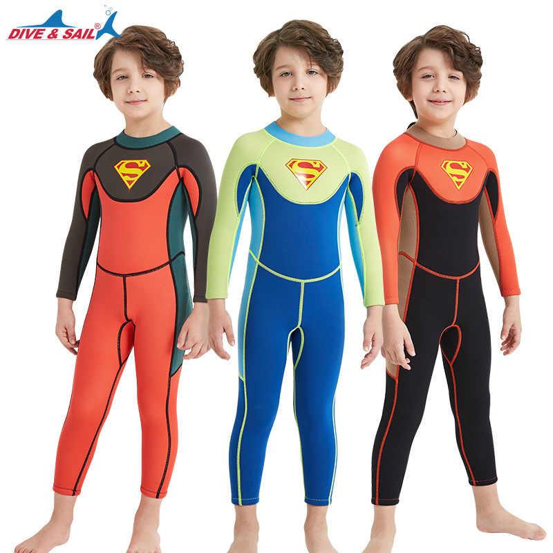 2.5 MM kinderen duikpak Korte Lange Mouwen zonnebrandcrème snorkelen pak Een stuk Wetsuits Kinderen Warm Beachwear Surf badmode