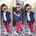 3pcs children Boys jeans clothing sets Denim Jacket+White Vest+Red sport Pants 2017 toddler infant suit kids clothes DY117B