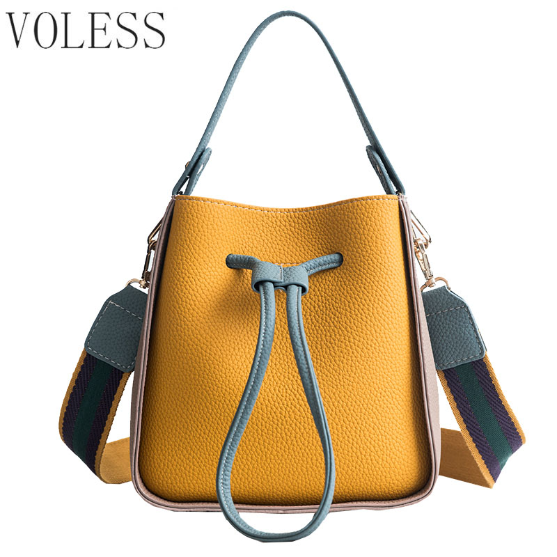 Drawstring Women PU Leather Shoulder Bags Female Handbag Colorful Strap Bucket Bag Brand Ladies Messenger Crossbody Bags