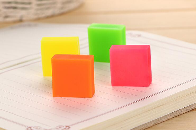 Candy Color Jelly Eraser Set Colorful Square Pencil Eraser As Correction Supplies 1pcs/lot