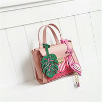 PACGOTH Fashion Pink Ladies' PU Leather Shoulder Bag Flamingo Tropical Stripe Leaf Korean Tropical Style Shoulder & Handbag 1 PC