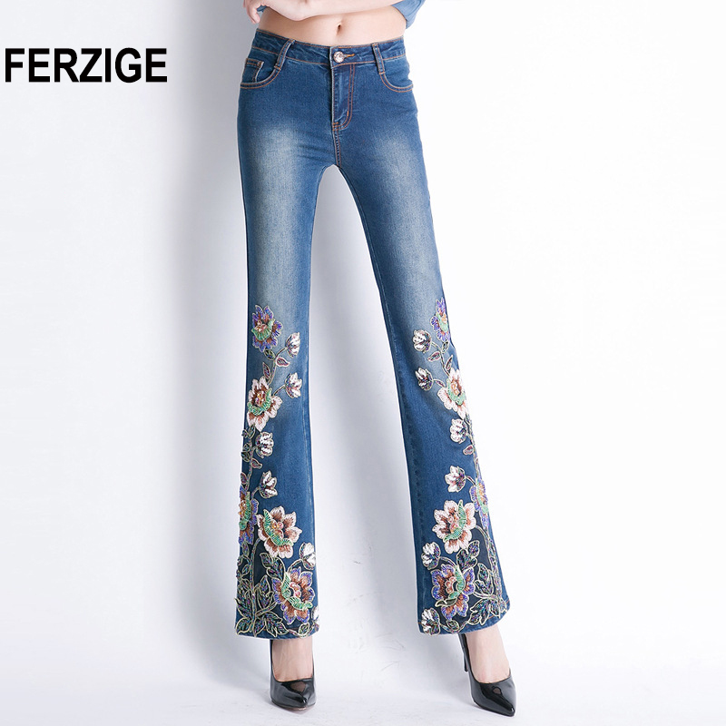 FERZIGE Women Jeans with Embroidery High Waist Stretch Luxury Denim Pants Manual Embroidered Bell Bottom Rhinestones